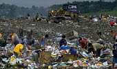 Families work scavenging on the top of the vast mountains of rubbish on the civic dump on the edge of Manila. Philippines. - Jim Holmes - 03-07-2001