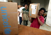 At a Banda Aceh provincial health office close to the airport UNICEF health kits for the tsunami have been stored after their airfreight arrival ready to be delivered to NGO partners running medical c... - Jim Holmes - 03-04-2005