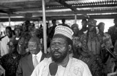 Salva Kiir speaks at the SPLA soldiers at the funeral of Dr John Garang of the SPLA who died in a helicopter accident. Garang had also been made vice president of Sudan following the peace settlement... - Thomas Morley - 13-09-2005