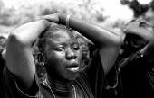 Crowds grieve at the funeral of Dr John Garang of the SPLA who died in a helicopter accident. Garang had also been made vice president of Sudan following the peace settlement with the Government. Juba... - Thomas Morley - 13-09-2005