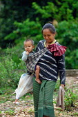 Hill Tribe mother carrying child, in Northern Laos. - Tom Parker - 04-04-2007
