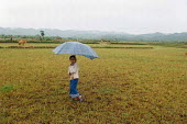 Hill Tribe girl with umbrella in Northern Laos. - Tom Parker - 2000s,2007,Asia,asian,asians,child,CHILDHOOD,children,country,countryside,female,females,girl,girls,Hill,juvenile,juveniles,kid,kids,Lao,LAO418,Laos,laotian,laotians,LFL Lifestyle,Loas,Muang,outdoors,