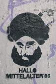 Mohamed with bomb turban cartoon graffiti on a wall in Hamburg saying Hello middle ages 06 - Timm Sonnenschein - 16-05-2006