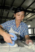 A woman preparing fabric for further production in the 'Toy Home' soft toy factory in Shanghai - Timm Sonnenschein - 01-09-2006