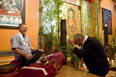 Dharmachari Padmavajra publicly ordaining Roy Peters into the Triratna Buddhist Order giving him a Buddhist kesa in a ceremony where he also received �the Buddhist name Mahasiddhi, Padmaloka Retreat C... - Roy Peters - 23-09-2010