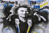 A banner depicting Margaret Thatcher, David Cameron and Nick Clegg �during the TUC March For the Alternative, London - Timm Sonnenschein - 2010s,2011,activist,activists,against,alternative.,and,anti,Austerity Cuts,CAMPAIGN,campaigner,campaigners,CAMPAIGNING,CAMPAIGNS,coalition,ConDems Coalition,CONSERVATIVE,Conservative Party,conservativ