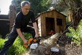 A gardener using a chainsaw to cut up a felled conifer tree in a private garden - Timm Sonnenschein - 21-04-2011