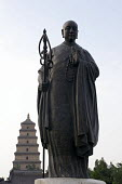 A statue of the Buddhist saint Xuanzang in front of the Wild Goose Pagoda. - Timm Sonnenschein - 02-08-2011