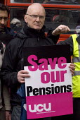 Strike by public sector workers over pensions. UCU member during a joint union rally, Birmingham. - Timm Sonnenschein - 10-05-2012