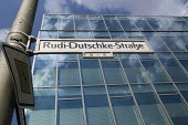 The renamed Rudi Dutschke Strase outside the the Axel Springer publishing house headquarters, Berlin. Rudi Dutschke was a Marxist German student leader of the 1960. In the 1960s the student movement w... - Timm Sonnenschein - 29-08-2012