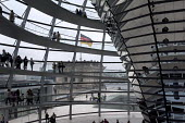 The Reichstag dome, Berlin, Germany. The large glass dome at the very top of the Reichstag has a 360-degree view of the surrounding Berlin cityscape - Timm Sonnenschein - 31-08-2012