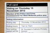 Poll card for the election of the Police and Crime Comissioner for West Midlands police area which will take place on the 15.11.2012 - Timm Sonnenschein - 2010s,2012,adult,adults,ballot,BALLOTING,ballots,cities,city,CLJ,democracy,election,elections,electorate,government,MATURE,papers,people,pol,police,policing,political,POLITICIAN,POLITICIANS,politics,u