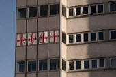 Four St George's flags hung from the windows of high rise council flats, Birmingham - Timm Sonnenschein - 02-02-2013
