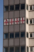 Four St George's flags hung from the windows of high rise council flats, Birmingham - Timm Sonnenschein - 2010s,2013,ACE,activist,activists,architecture,Birmingham,blocks,BNP,British National Party,buildings,CAMPAIGN,campaigner,campaigners,CAMPAIGNING,CAMPAIGNS,cities,city,council,council estate,council s