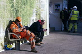 Contractors taking a morning break, Design Museum construction site, London Kensington - Timm Sonnenschein - 19-02-2013