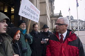 Labour councillor Martin �Straker Weld �trying to enter the council meeting as protesters �blockade the entrances to the Birmingham Council House to prevent councillors to enter for their budget meeti... - Timm Sonnenschein - 26-02-2013