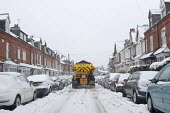 An Amey/Birmingham City Council gritting lorry spreading salt in a residential area of Birmingham �as continuous snowfall disrupts travel and transport - Timm Sonnenschein - 24-03-2013