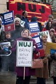 NUJ members on strike over workloads, stress, bullying & harassment and the threat of compulsory redundancy picketing outside the BBC, Birmingham Mailbox - Timm Sonnenschein - 28-03-2013