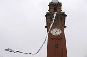 Free Education banner waving from the Unviversity of Birmingham Clocktower. National Student Protest for free education, against cuts and the privatisation of student loans, University of Birmingham c... - Timm Sonnenschein - 29-01-2014