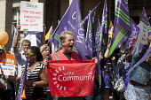 Unite community member. Public sector workers strike over pay, pensions and workload, Strike rally, Victoria Square, Birmingham - Timm Sonnenschein - 10-07-2014