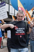 We rescue people not banks. Public sector workers strike over pay, pensions and workload, Strike rally, Victoria Square, Birmingham - Timm Sonnenschein - 10-07-2014