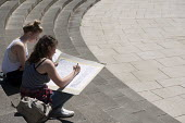 Sixth form art students drawing during an architectural outdoor lesson in Chamberlain Square, Birmingham City Centre - Timm Sonnenschein - 10-07-2014