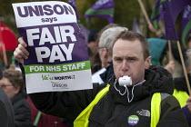 UNISON NHS staff strike in dispute over pay, Queen Elisabeth Hospital Birmingham - Timm Sonnenschein - 13-10-2014