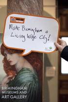 A Pre Raphaelite, Proserpine as the Empress of Hades, says make Birmingham a living wage city! Birmingham Museum and Art Gallery. Make Birmingham a Living Wage City. Becca Kirkpatrick, Citizens UK Bir... - Timm Sonnenschein - 26-02-2015