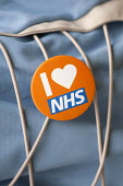 I Love NHS badge - Timm Sonnenschein - 2010s,2015,activist,activists,against,badge,badges,campaign,campaigner,campaigners,campaigning,CAMPAIGNS,DEMONSTRATING,demonstration,DEMONSTRATIONS,HEA,health,national health service,NHS,PEOPLE,protes