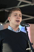Owen Jones speaking TUC march against austerity cuts and unfair Trade Union Bill, Conservative Party Conference, Manchester. - Timm Sonnenschein - 04-10-2015
