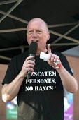 Matt Wrack Gen Sec FBU speaking TUC march against austerity cuts and unfair Trade Union Bill, Conservative Party Conference, Manchester. - Timm Sonnenschein - 04-10-2015