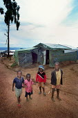 Children standing near their home in the refugee camp near Byumba, Rwanda, 2003 - Steven Langdon - 01-03-2003