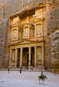 The Treasury, Al Khazneh, a huge tomb facade chiselled out of the sheer rock face part of the ancient city of Petra. Jordan - Steven Langdon - 01-03-2004