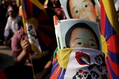 Tibetans in exile in a huge strength of 25000 demonstrate against the visit to India by Chinese leader Hu Jin Tao. - Tashi Tobgyal - 11-10-2007