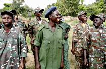 Women soldiers among SPLA rebels training in Yei South Sudan. 2005 - Thomas Morley - 12-11-2005