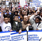 United Rally against Islamaphobia after publication of cartoon caicatures of the Islamic prophet Muhammed in Denmark and throughout the world. Trafalgar Square London. - Kevin Hayes - 11-02-2006