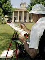 Watercolor painter, Heaton Hall Manchester - Len Grant - 01-07-2001