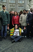 London Based Supporters of the PKK Leader Abdullah Ocalan stage a Sit Down Protest in Oxford Circus, Central London which succeeded in Holding up and Stopping Traffic while bemused, passers by Look on... - Paul Mattsson - 2000s,2003,activist,activists,Banned,CAMPAIGN,campaigner,campaigners,CAMPAIGNING,CAMPAIGNS,Death,DEATHS,DEMONSTRATING,DEMONSTRATION,DEMONSTRATIONS,died,highway,ISLAM,ISLAMIC,Kurdish,Kurdistan,Kurds,Le