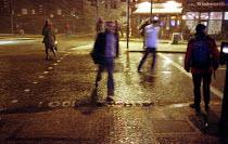 Pedestrians Crossing the Road in Sudden Heavy Rainstorm. Holborn, Central London - Paul Mattsson - 30-01-2003