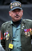 Highly decorated Vietnam war veteran, former U.S. Marine Sergeant Jaime Vazquez from New Jersey on the Stop the war on Iraq rally on First Avenue, New York City, USA. Up to one million people attended... - Paul Mattsson - 15-02-2003