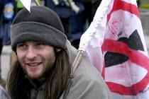 Anti war protester at RAF Fairford American bomber base - Paul Mattsson - 2000s,2003,activist,activists,airforce,American,americans,anti war,Antiwar,armed forces,Banner,BANNERS,Beard,Bearded,BEARDS,bomber,CAMPAIGN,campaigner,campaigners,CAMPAIGNING,CAMPAIGNS,DEMONSTRATING,D