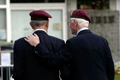 British and Canadian airborne war veterans at local small town D Day sixtieth anniversary commemoration ceremony, Trouarn, Normandy, France - Paul Mattsson - 06-06-2004