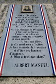 Memorial to Albert Manuel a local French resistance war hero who was executed by the Germans, Honfleur, Normandy, France - Paul Mattsson - 06-06-2004