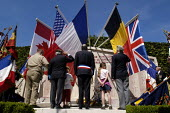British, Belgian and French resistance war veterans and the local mayor at small town D Day sixtieth anniversary commemoration ceremony, Honfleur, Normandy, France - Paul Mattsson - 06-06-2004