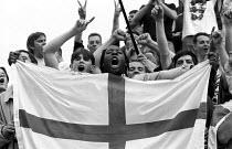England football fans celebrate quarter final victory against Spain in the Euro 1996 championships. Trafalgar Square, central London - Paul Mattsson - 22-06-1996
