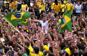 Brazil football fans celebrate World Cup victory in Trafalgar Square - Paul Mattsson - ,2000s,2002,Brazil,Brazilian,Brazilians,CELEBRATE,Celebrating,Celebration,Celebrations,cheering,cities,city,Cup,EMOTION,EMOTIONAL,EMOTIONS,fan,fans,flag,flags,Football,Happiness,happy,LFL leisure,SPO