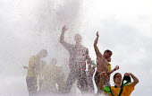 Brazil football fans celebrate World Cup victory in Trafalgar Square - Paul Mattsson - 2000s,2002,BAME,BAMEs,Black,BME,bmes,Brazil,Brazilian,Brazilians,CELEBRATE,Celebrating,Celebration,Celebrations,cheering,cities,city,Cup,diversity,EMOTION,EMOTIONAL,EMOTIONS,ethnic,ethnicity,fan,fans,