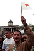 Greek Cypriots rally in Trafalgar Square on the anniversary of the Turkish invasion of their island which started on 20 July 1974 - Paul Mattsson - 21-07-2002