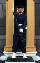 Female conscript on guard duty, Royal Palace Stockholm Sweden - Paul Mattsson - 12-09-2002