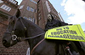 NATFHE member dressed as a horseman of the apocalypse Protesting against the worsening of working conditions at South Thames College, Wandsworth, South London - Paul Mattsson - 26-09-2002